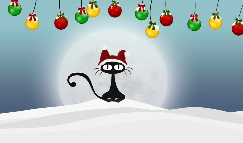 год, новый, кот, новогодние, шарики, зима, снег, christmas, кота,