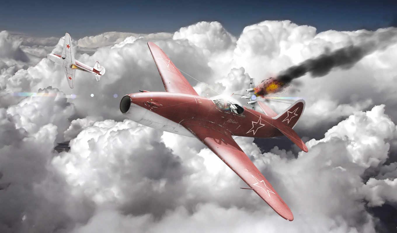 облака, небо, самолёт, daily, заставки, только, war, thunder,