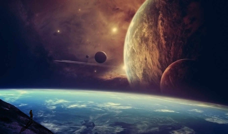 мужчина, звезды, своего, появления, момента, вероятный, смотрит, планете, побывали, планеты,