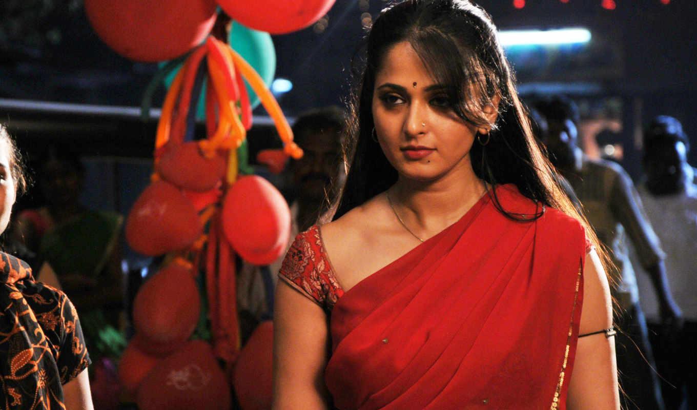 anushka, hot, shetty, saree, red, актриса, pictures,