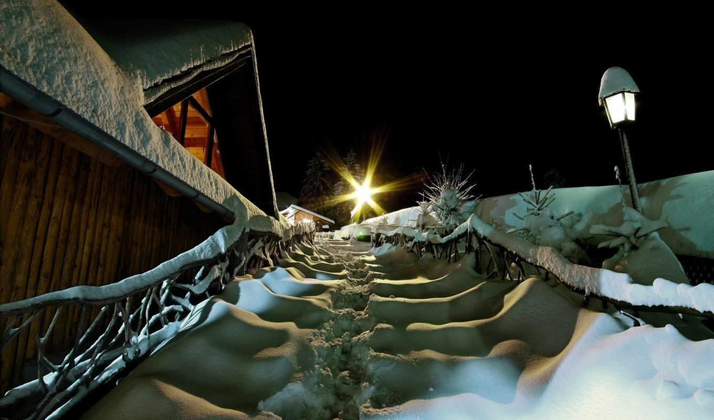 снег, город, фонарь, рождество, звезда,