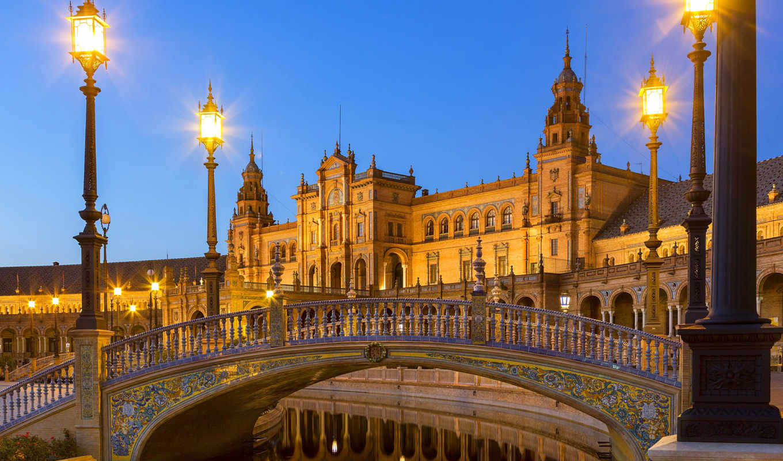 sevilla, испания, мост, casa, barrio, stad,