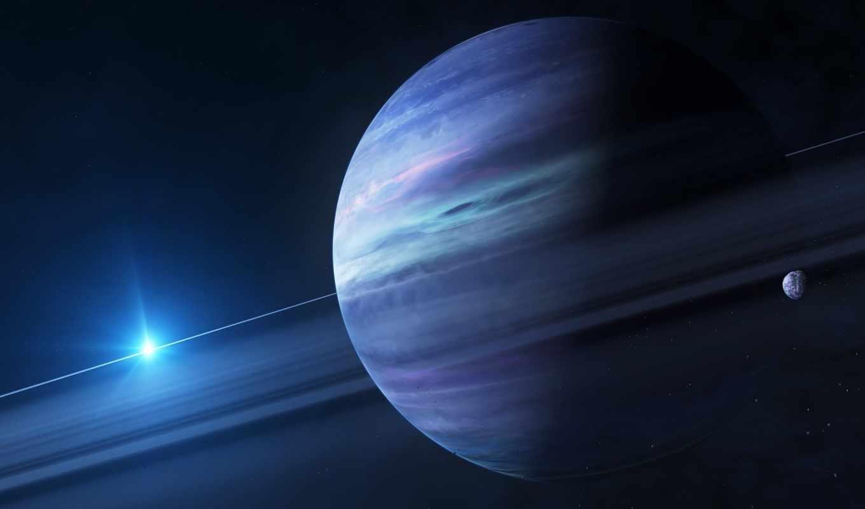 planeta, kosmos, art, звезды, кольца, гигант, планеты, спутник,