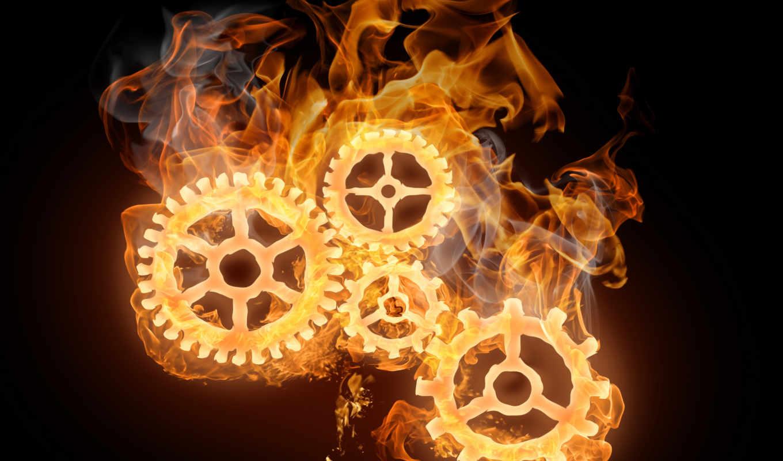 огонь, flames, механизм, шестеренки,