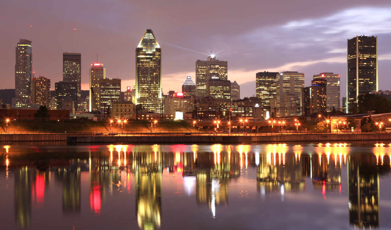montreal, канада, город, ночь, канаде, огни, путешествия,