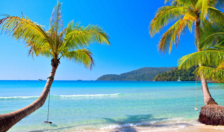 пляж, blue, ocean, tropical, море, рай, песок, побережье, palm, emerald, summer,