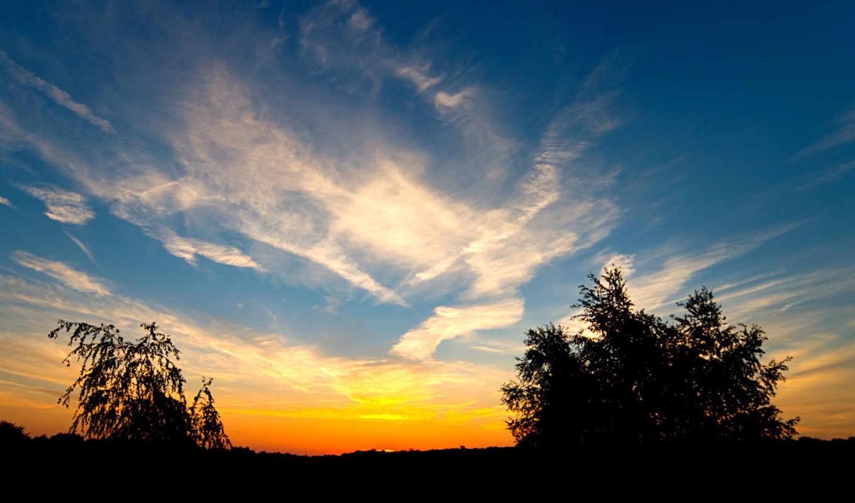 небо, природа, sun, закат, landscape, фон,