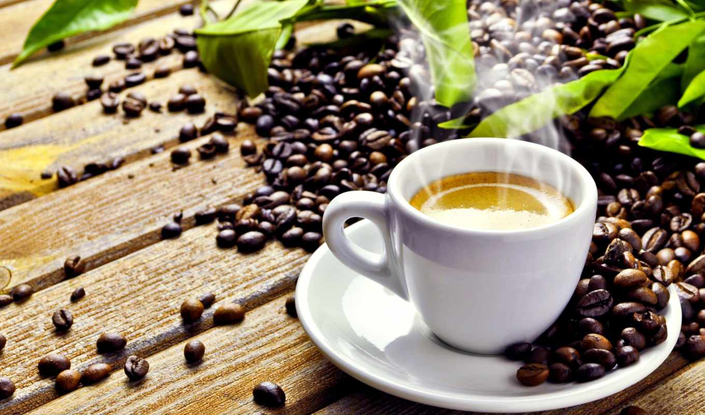 чашка, листья, зёрна, кофе, блюдце, дымок, пенка,