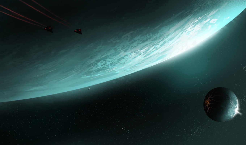elite, dangerous, планета, спутник, арт, космос, ashley, barley,
