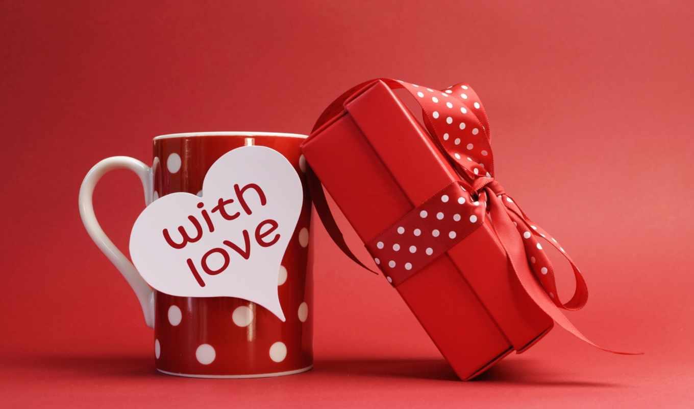 любовь, подарок, кружка, лента, красный, надпись
