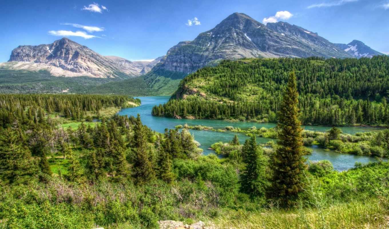 картинка, usa, landscape, горы, флот, лес, glacier, montana, hdr,