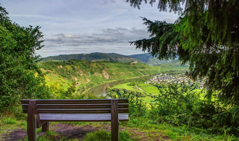 природа, alcatel, скамейка, изображение, от, закат, landscape, небо,