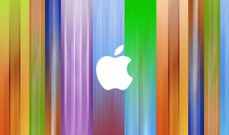 apple, лого, белый, раздужный, градиент