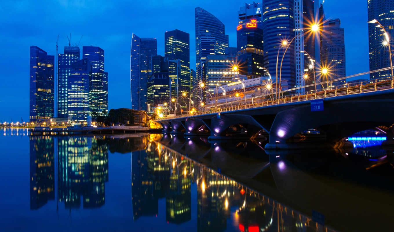 singapore, огни, город, отражение, вечер, малазия, мост,