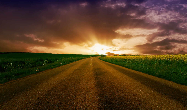 дорога, горизонт, уходящая, широкоформатные,