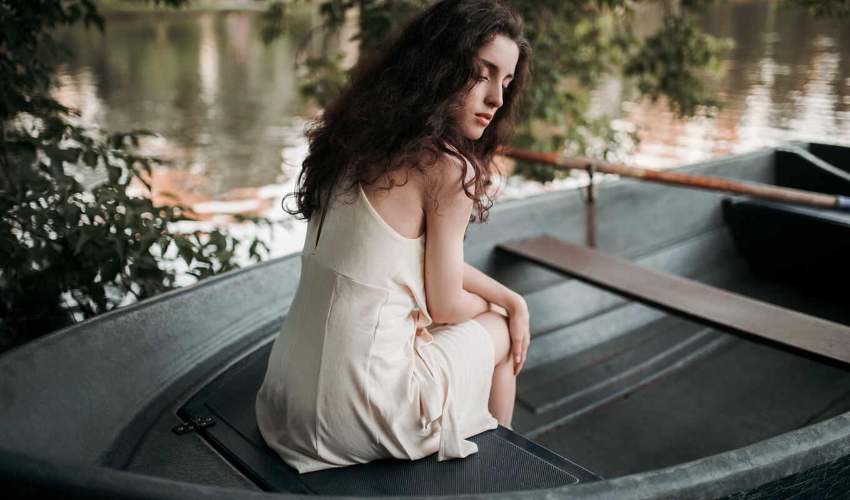 женщина, лодка, outdoors