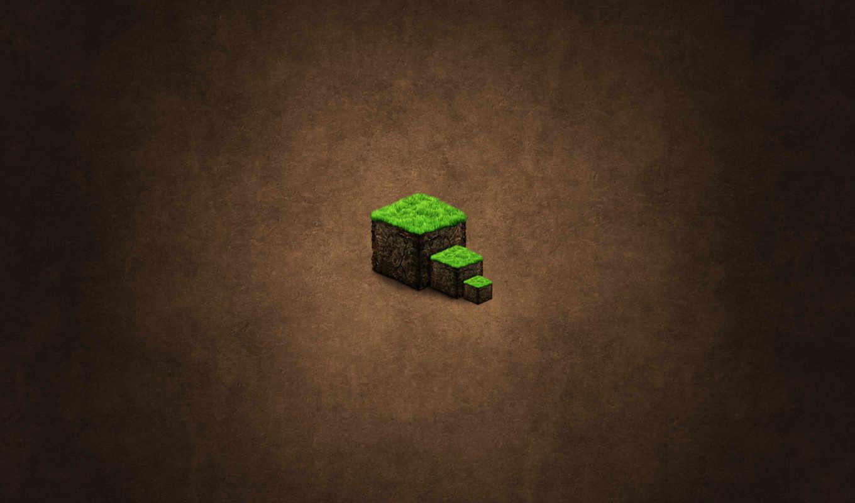 minecraft, земля, минимализм, блок, куб, трава,