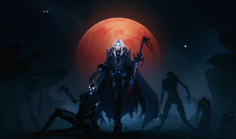 warcraft, world, blood, elf, кровавая, луна, wow, нежить, смерти, рыцарь, зомби, games, video, art, death, фэнтези, игры,