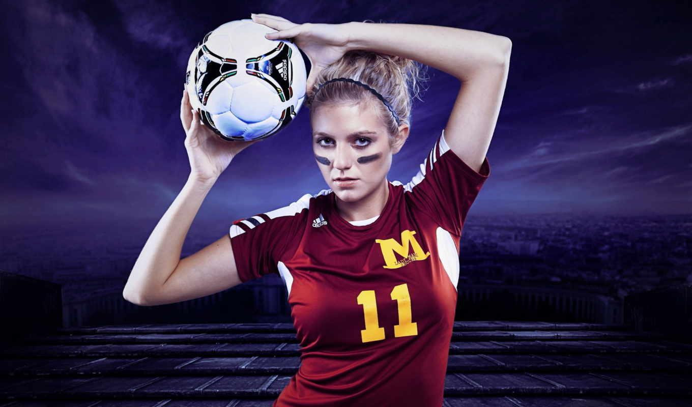 спорт, девушка, мячь, desktop, футбол,
