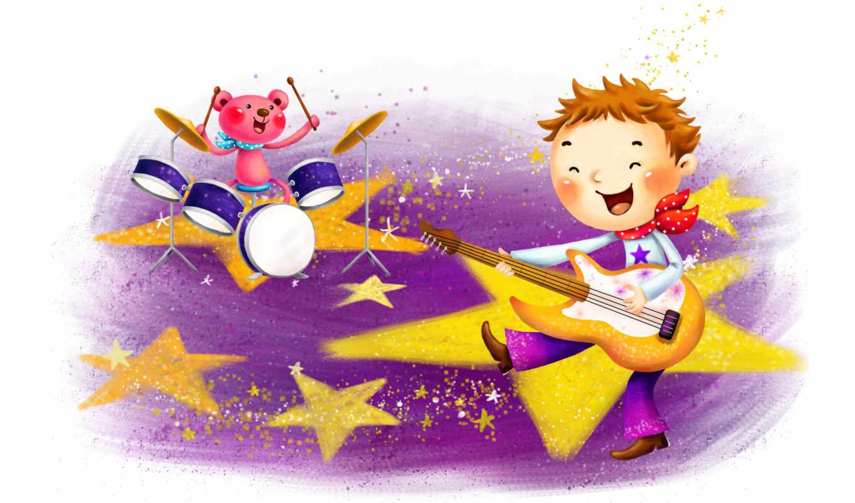 нарисованные, мальчик, медвежонок, гитара, барабан, звёзды, платок, музыка