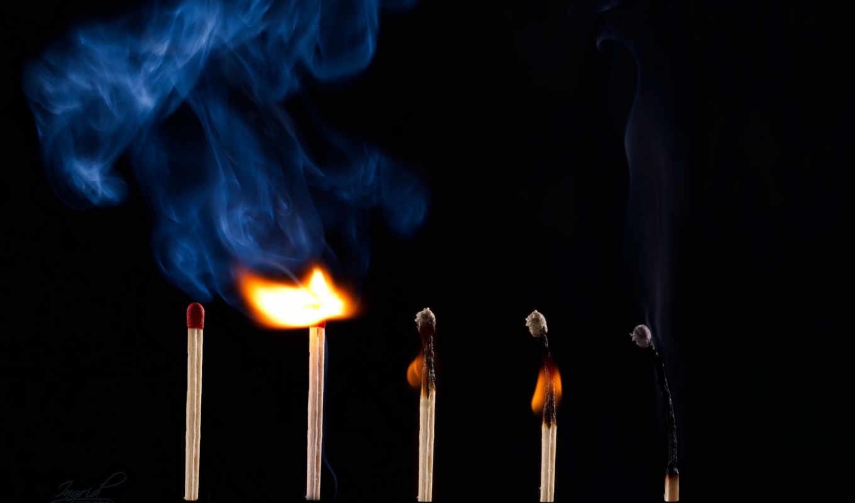 огонь, спички, макро, дым, спичка,