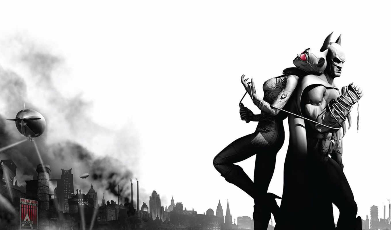 batman, женщина, кот, arkham, город,