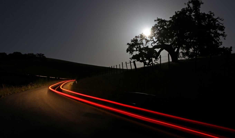time, lapse, огни, ночь, car, свет, дорога, небо,