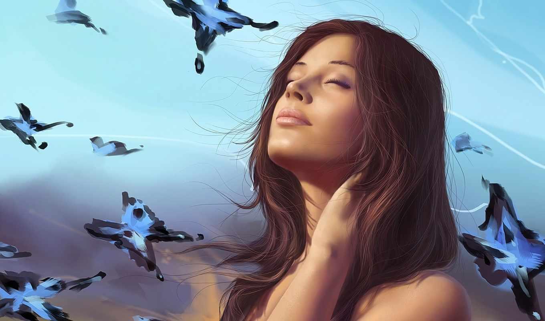 девушка, бабочки, art, небо, мечты, разных, josephine, нравится, летают, нее, стена,