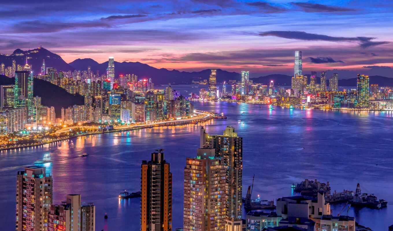 город, ночь, огни, cityscape, skyline