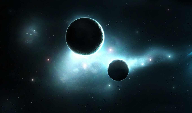 планеты, звезды, туманность, свечение, satellite, картинка,