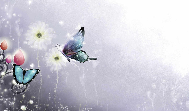 цветы, full, рисунок, девушка, фиолетовый, бабочки,