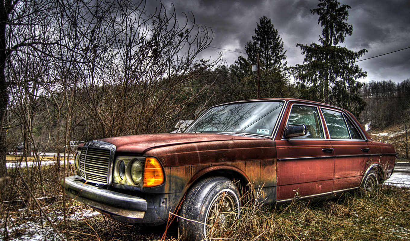 mercedes, hdr, legs, car, облака, parked, последний, tapety, огни,