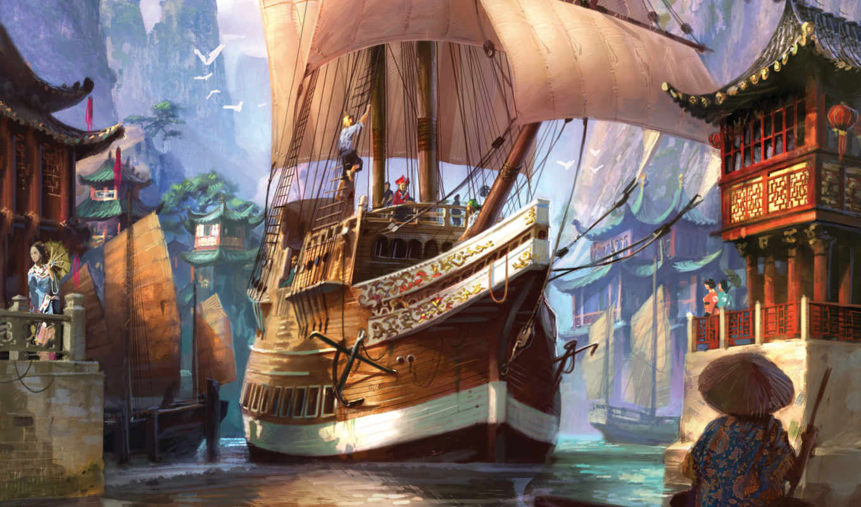 игры, корабль, anno, красивая, картинка, рисованный, discovery, рассвет,