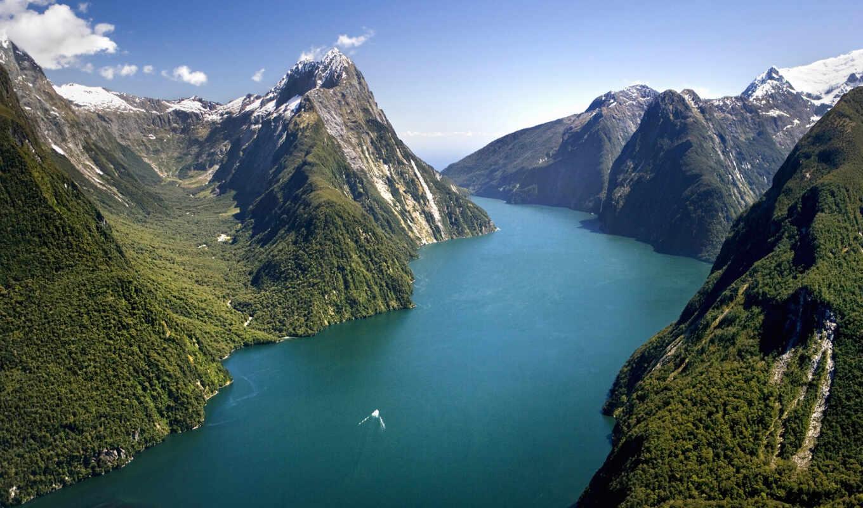 новая зеландия, горы,пролив, небо