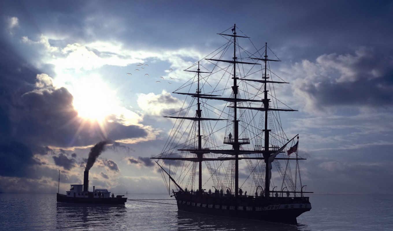 буксир, парусника, море, корабли, парусник, ships,