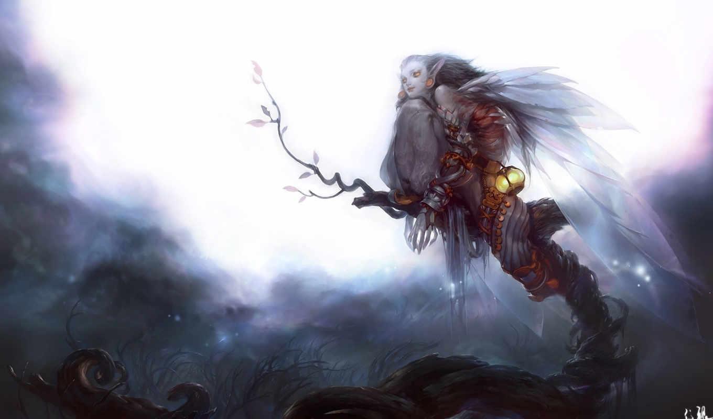 ночь, луна, девушка, дерево, арт, фонарь, mingzhu, крылья, yang,