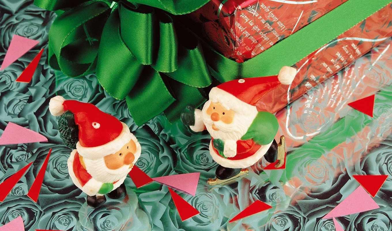 новый, год, дед, мороз, праздники, разное, christmas, два, подарков, вокруг, санта, клауса,