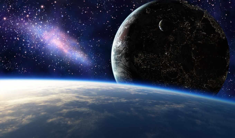 cosmos, планеты, звезды, огни, art,