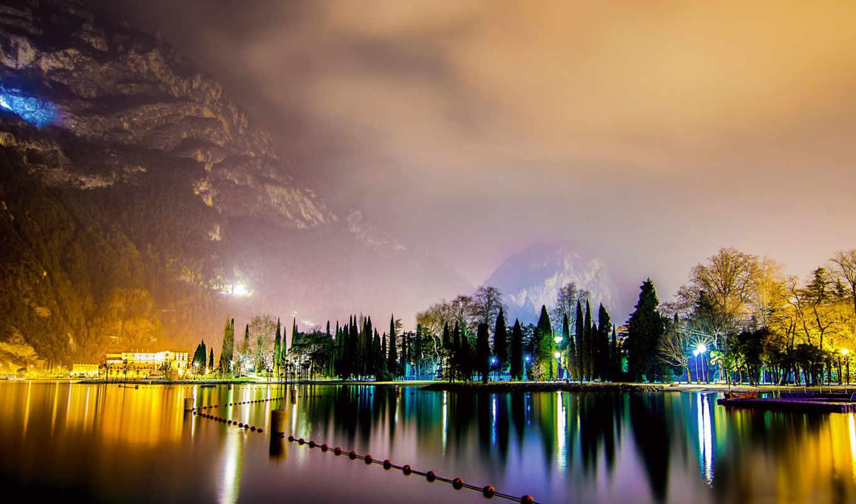 , город, ночь, огни, горы