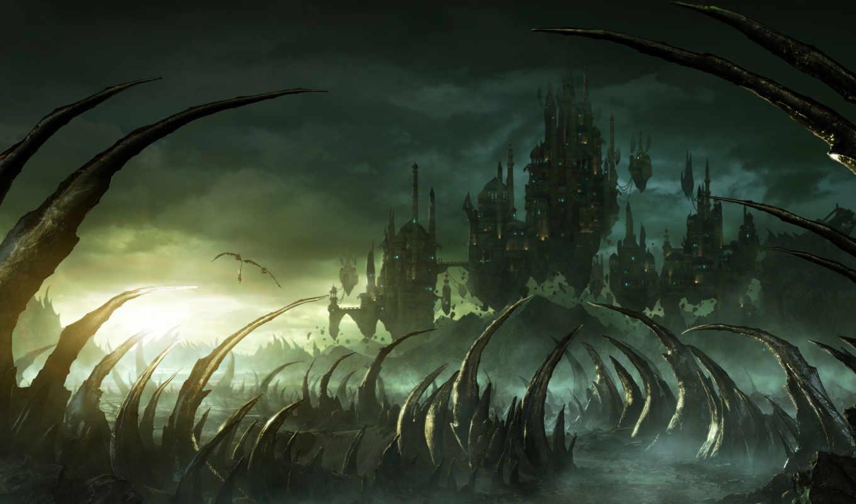 rise, legends, nations, фэнтези, замки, парящие, они, поле, картинка, боя, игры, но,