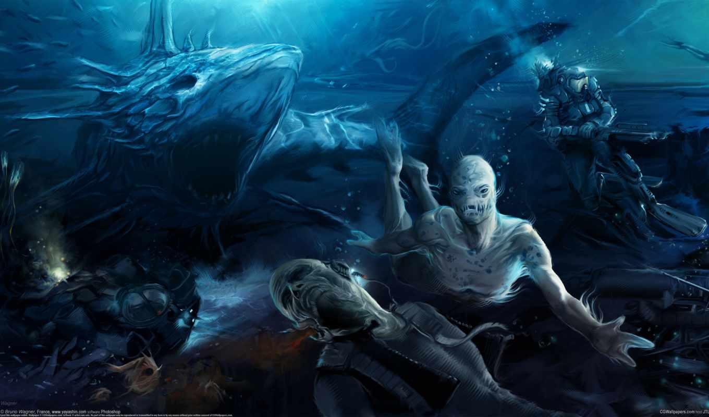 wagner, bruno, водолаз, акула, монстры, рисует, янв,