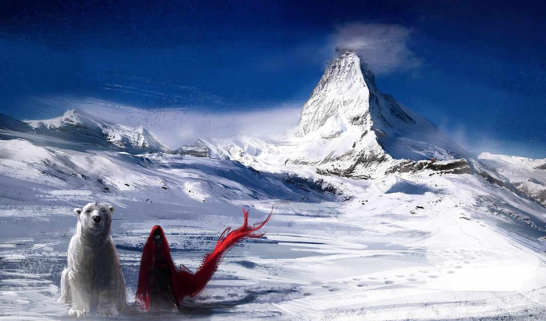 снег, горы, art, плащ, медведь, девушка, ветер, red,