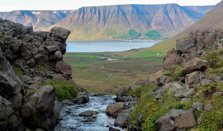 камни, река, дек, скалы, озеро, холмы,