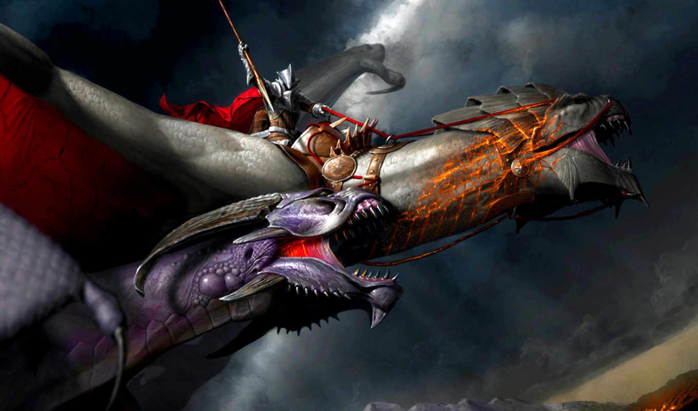 david, dragon, digital, fantasy, knight, gaillet, painting,