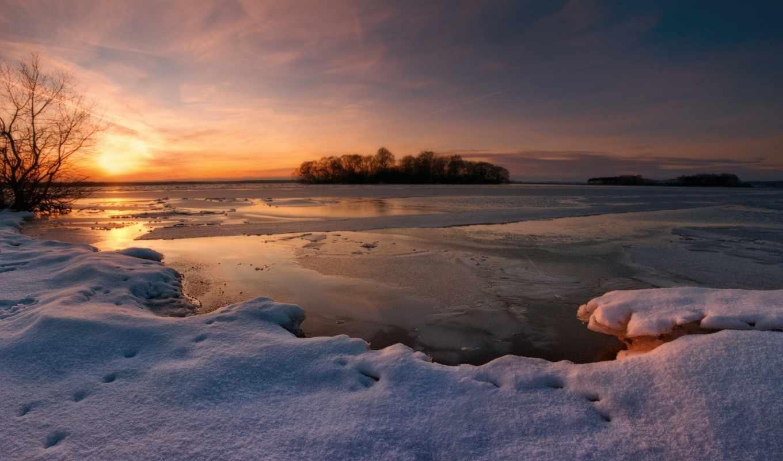 winter, вечер, снег, закат, озеро, деревья,