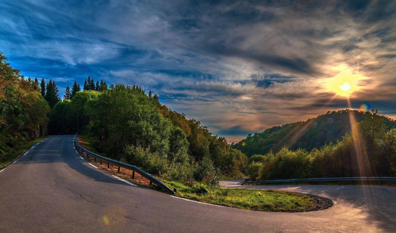 дорога, поворот, zakat, les, асфальт, деревя, холмы,