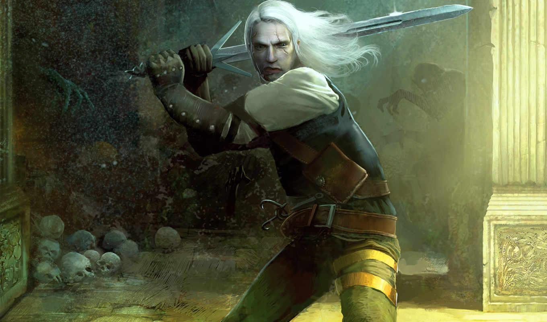 witcher, игры, геральт, games, бою, game, код, desktop, видео, замахивается, мечом,