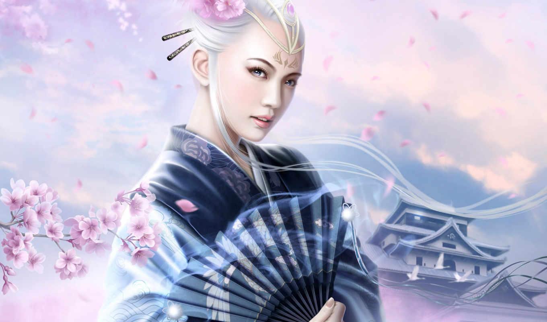desktop, цветы, free, девушки, www, японка, fantasy, mario, веер, кимоно, geisha, wibisono, gmz,