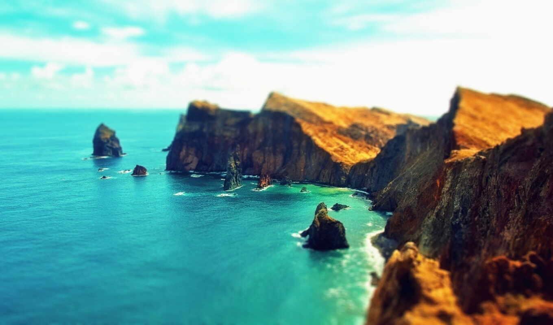 скалы, природа, облака, берег, небо, пейзаж, море, вода,