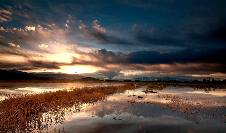 озеро, облака, небо, горы,